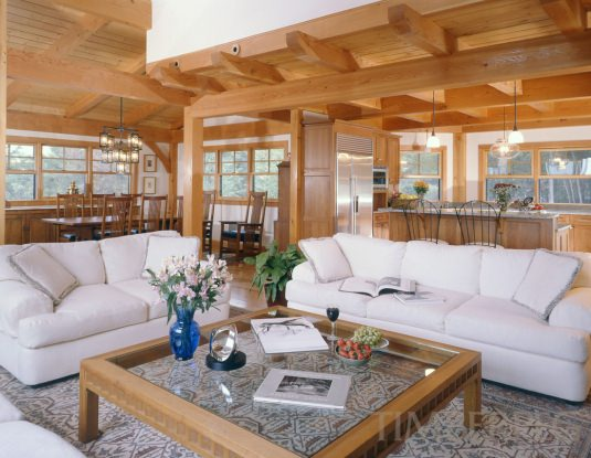 Timberpeg timber frame quechee vt 5313 post and for Open concept post and beam house plans