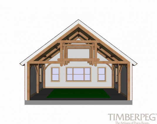 Timberpeg Timber Frame | Queen Post Trusses - Modified | Post and ...