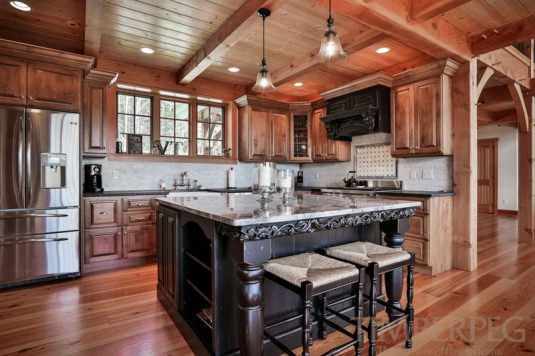Timberpeg timber frame mt holly t00504 post and for Mountain home kitchen design