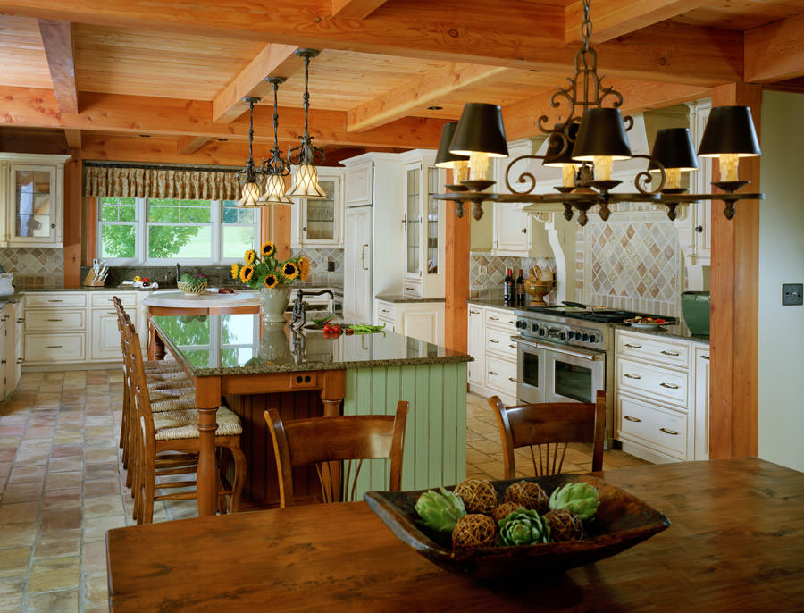 post and beam farmhouse kitchen