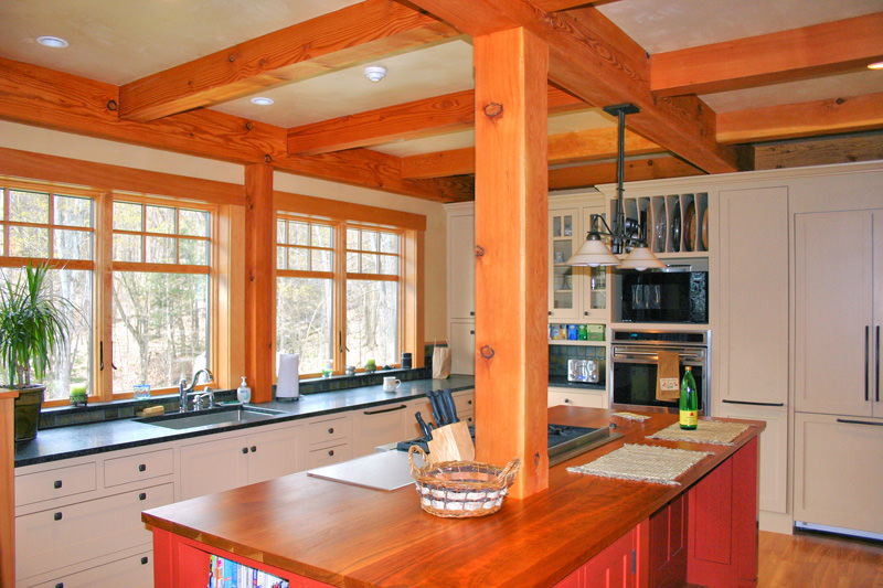 kitchen island post kitchen layout ideas for post and beam homes timberpeg 13523
