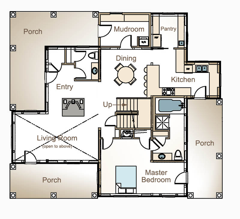 The Blue Hill Bay Post And Beam Home Floor Plan