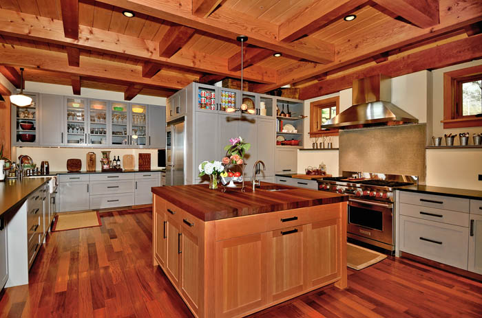 Timber Frame Kitchen With Large Butcher Top Island