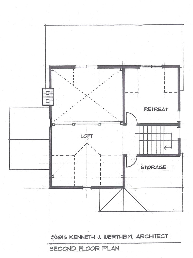 the blue mist cabin a small timber frame home plan timberpeg since the upstairs is now accessed with stairs the loft overlooking the bedroom has been replaced with a larger separate retreat or office space